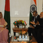 Bangladesh Prime Minister Sheikh Hasina Wajid during a meeting with her Indian counterpart Narendra Modi. (Wikimedia Commons photo)