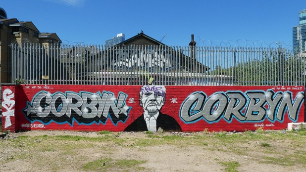 A graffiti of British Labor Party leader Jeremy Corbyn. (Photo by duncan c, CC license)