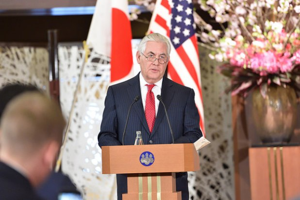 Secretary of State Rex Tillerson addressing reporters after meeting with Foreign Minister Kishida in Tokyo in March this year. (Photo via US Embassy Tokyo, CC license)