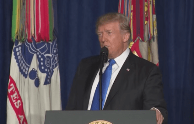 President Trump announcing the new US strategy for Afghanistan war on August 22. (Photo via video stream)