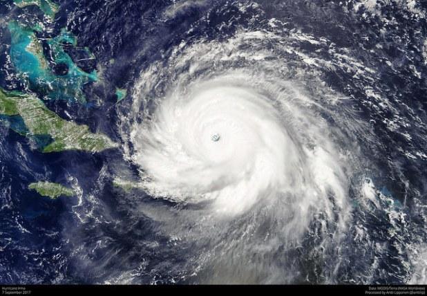 Hurricane Irma 7 September 2017 as seen by MODIS on board Terra satellite. (Photo by Antti Lipponen, CC license)