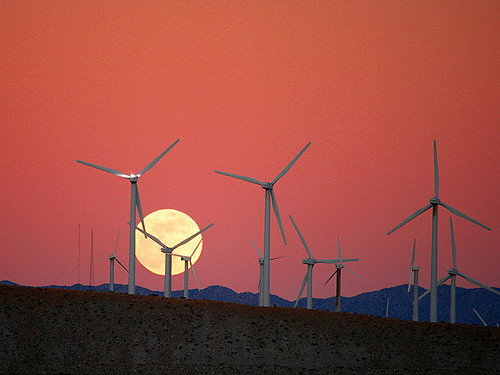 Moon Rise behind the San Gorgonio Pass Wind Farm. (Photo by Chuck Coker, CC license)