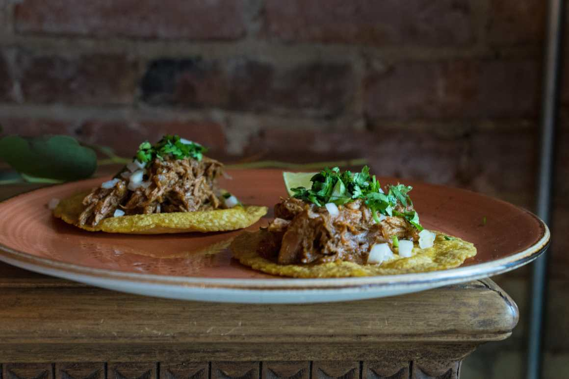 Pulled pork and beef brisket tacos from Los Colibris in Toronto.