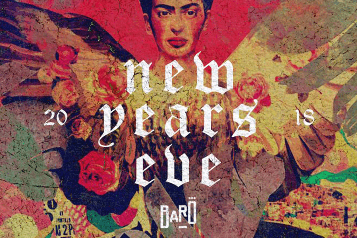 """Photo of a painting on the wall with text over saying """"new years eve""""."""