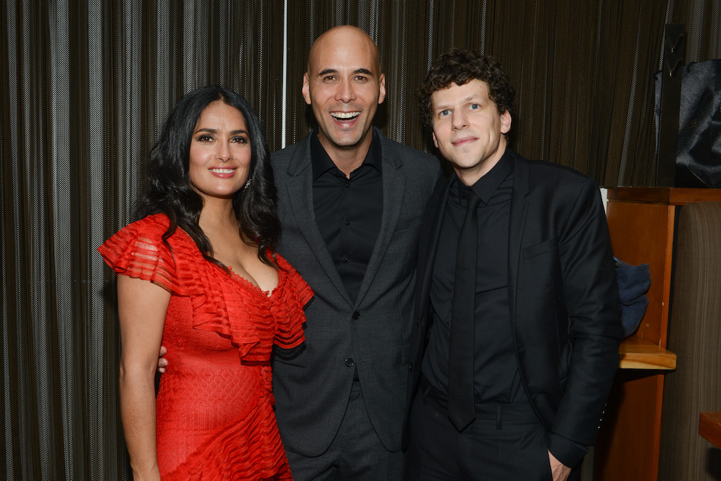 Salma Hayek, Kim Nguyen & Jesse Eisenberg at 'The Hummingbird Project' premiere party hosted by Cactus Club Cafe at First Canadian Place during TIFF on Saturday September 8, 2018 in Toronto, Canada. Photo by George Pimentel - Getty Images | View the VIBE