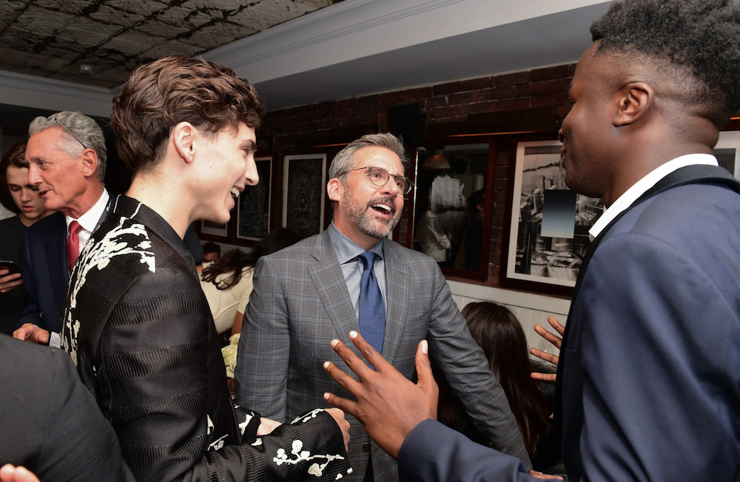 """Timothée Chalamet, Steve Carell, Stephane Bak attend the """"Beautiful Boy"""" premiere afterparty hosted by Hugo Boss and Amazon Studios at Soho House (Photo: George Pimentel/Getty Images for Hugo Boss) 