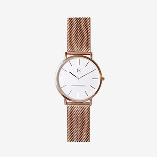 Lexton Harper Rose Gold Metalic Strap Watch Unisex - View the VIBE