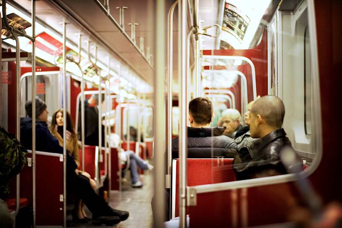 People riding the TTC Subway in Toronto / TTC Life Struggle is Real | View the VIBE Toronto