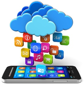 Cloud computing and mobility concept: touchscreen smartphone and blue glossy clouds with lot of color application icons isolated on white background