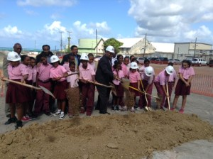 Juanita Gardine Students-STX Propane Groundbreaking--3-28-14