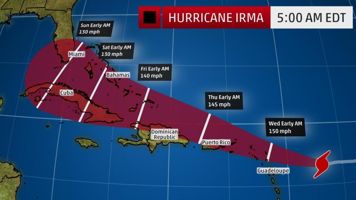 hurricane irma projected to make first landfall in the