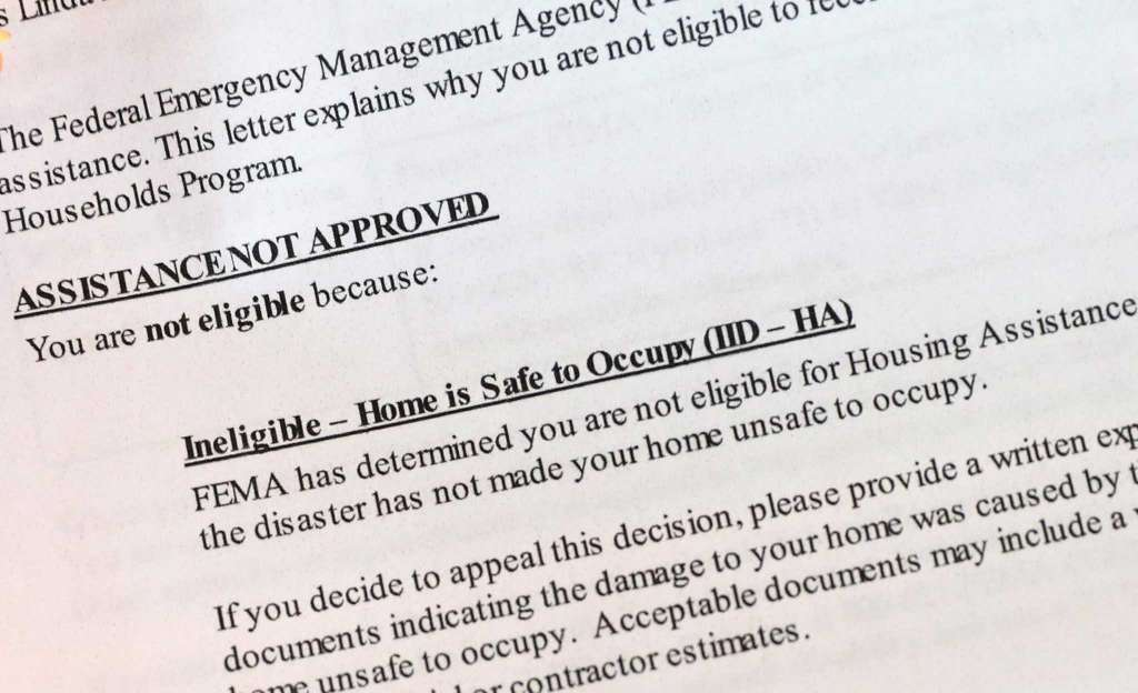 HURRICANE RECOVERY: Ineligibility Letter From FEMA May Not Be The