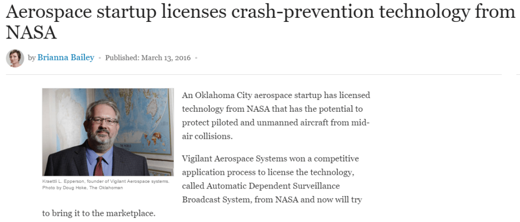 feature story on the launch of Vigilant Aerospace: Aerospace startup licenses crash-prevention technology from NASA