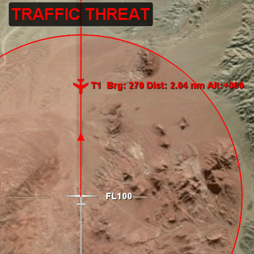 "FlightHorizon Traffic Threat - Visual Display Alerts and Warnings:</h2> <ul> <li>- Red ""Traffic Threat"" Message at the top of the display</li> <li>- Red aircraft icon</li> <li>- Red text displaying the other aircraft bearing, distance from ownship, and altitude</li> <li>- Red vector line drawn from ownship to the other aircraft</li> </ul> <h2>"