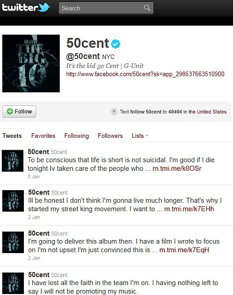 """50 Cent: """"I'm not going to live much longer"""""""