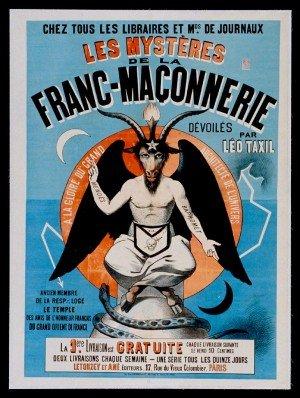 """""""Los misterios de la franco-maçonnerie"""" (Misterios de la Francmasonería) acusó a los masones de satanismo y la adoración de Baphomet.  Las obras de Taxil provocó la ira de los católicos"""