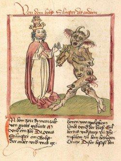 Papa Silvestre II y el Diablo (1460).  En el cristianismo, el diablo tiene características similares a los dioses paganos descritos anteriormente, ya que son la principal inspiración para estas representaciones.  Los atributos encarnados por estos dioses se convirtieron en la representación de lo que se considera el mal por la Iglesia.