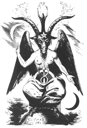"""This depiction of Baphomet by Eliphas Levi's from his book Dogmes et Rituels de la Haute Magie (Dogmas and Rituals of High Magic) became the """"official"""" visual representation of Baphomet."""