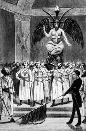 Baphomet presidiendo un ritual templario por Leo Taxil.