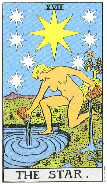 The seventeenth numbered major trump is called Les Étoiles, (French for The Star), and portrays a young girl kneeling with one foot in water and the other on and, her body somewhat suggesting the swastika. She has two urns, the contents of which she pours upon the land and sea. Above the girl's head are eight stars, one of which is exceptionally large and bright. Count de Gébelin considers the great star to be Sothis or Sirius; the other seven are the sacred planets of the ancients. He believes the female figure to be Isis in the act of causing the inundations of the Nile which accompanied the rising of the Dog Star. The unclothed figure of Isis may well signify that Nature does not receive her garment of verdure until the rising of the Nile waters releases the germinal life of plants and flowers.