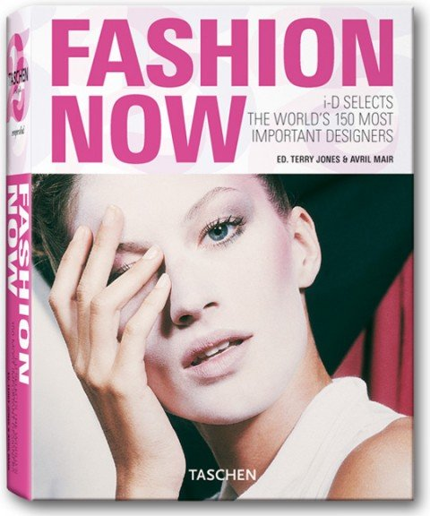 "Speaking of book covers, here's the cover of ""Fashion Now"", a guide of the most influential designers. In case you didn't notice: THERE'S A ONE-EYE THING GOING ON ON THE COVER!"