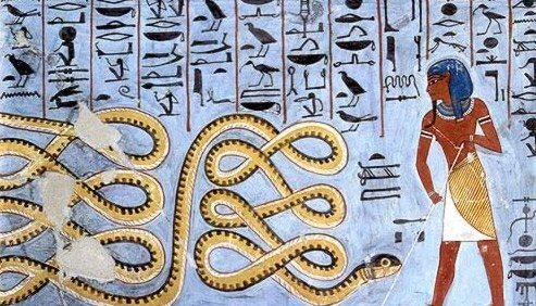 Apep is an evil god in ancient Egyptian religion depicted as a snake/serpent and a dragon, the deification of darkness and chaos. He is the enemy of , light, order and truth (Ma'at).