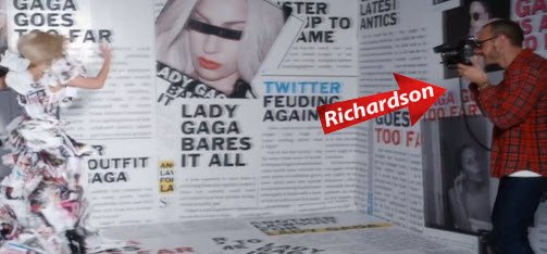Terry Richardson even appears in the video, photographying Gaga getting off on headlines about her.