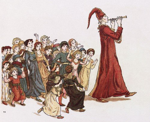 """The Pied Piper leads the children out of Hamelin. Illustration by Kate Greenaway for Robert Browning's """"The Pied Piper of Hamelin"""""""