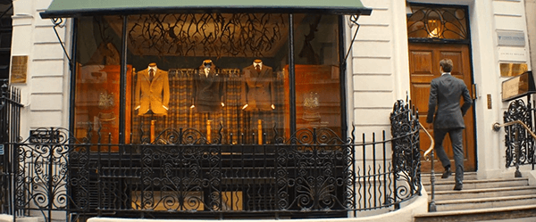 The London headquarters of Kingsman is a classy tailor shop.