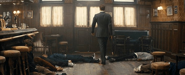 When one rowdy Londoner threatens Eggsy inside a pub, Galahad gets up and beats the crap out of everybody using high tech gadgets. You do not mess with the elite. During the end credits, we see Eggsy (who became a full fledged gentleman) beat the crap out of the same people again. He is now part of them.