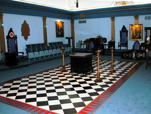 The all-important checkerboard floor inside a Masonic lodge. It is on this dualistic pattern that take place transformative rituals.