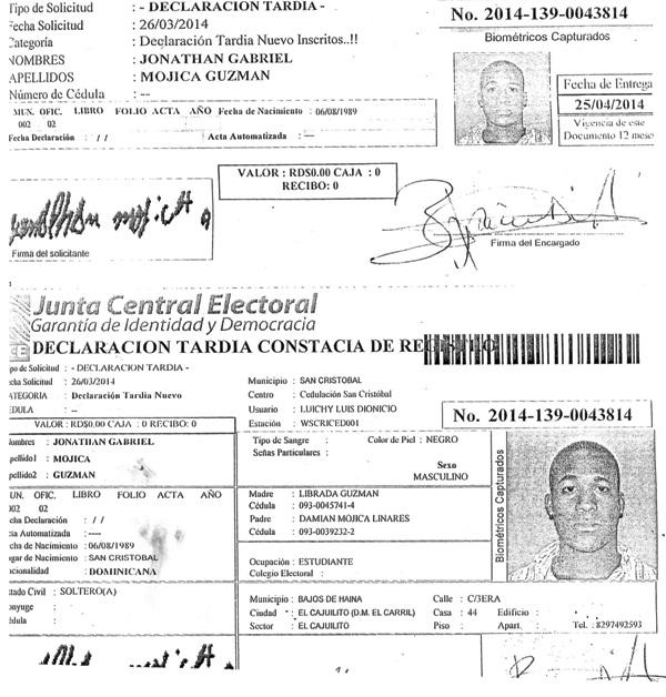 Declaración tardía de Jonathan Gabriel Mojica Guzmán que ahora no aparece.