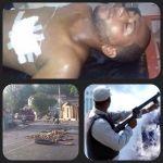 Un joven baleado, un policía en alerta y neumáticos encendidos fue el panorama de Salcedo en las primeras horas del paro. (Fotos: Redes Sociales)