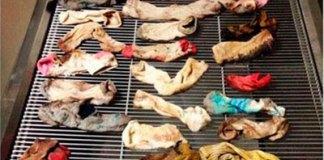 Algunos de los calcetines que se tragó el perro. Foto: The Independent