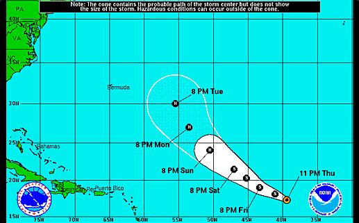 Trayectoria de la tormenta tropical Edouard,