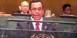 El ministro de Relaciones Exteriores, Andrés Navarro, durante su participación en la XXIX Sesión Especial de la Asamblea General sobre el Seguimiento al Programa de Acción de la Conferencia Internacional de Población y el Desarrollo Post 2014