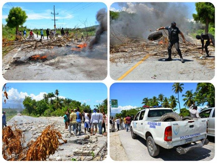 Composición gráfica de las protestas de los pescadores de Cabral que cerraron el paso en la carretera Internacional. (Fotos: Geuris Guzmán)