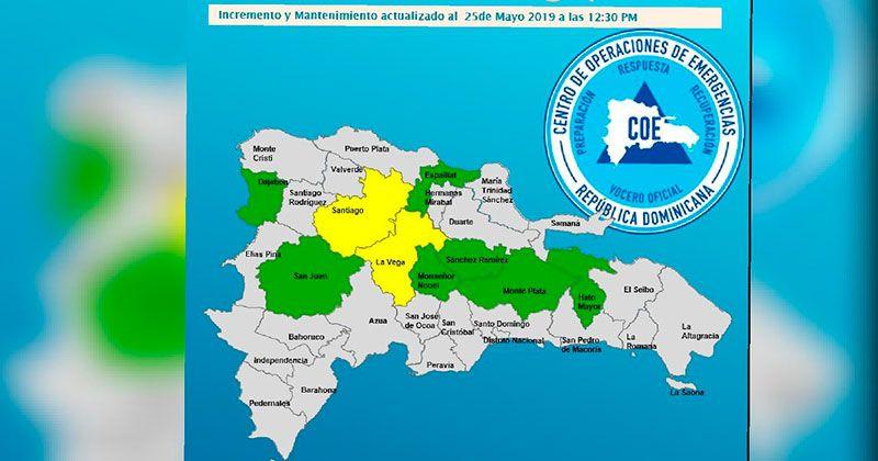 COE emite alerta amarilla para dos provincias y verde para siete