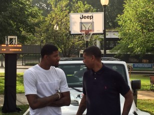 Jalen Rose and Paul George talking