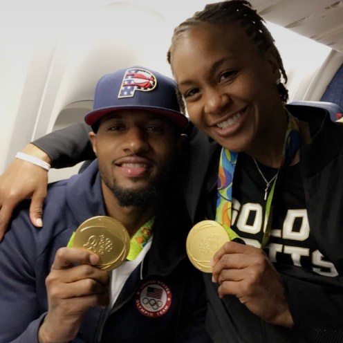 PG and Catch took a photo on the team plane home from the 2016 Rio Olympics.