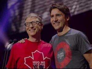 Le premier ministre Justin Trudeau s'entretient avec Bill et Melinda Gates