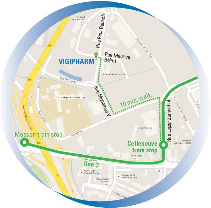 Pedestrian access from the Celleneuve tram stop (line 3)
