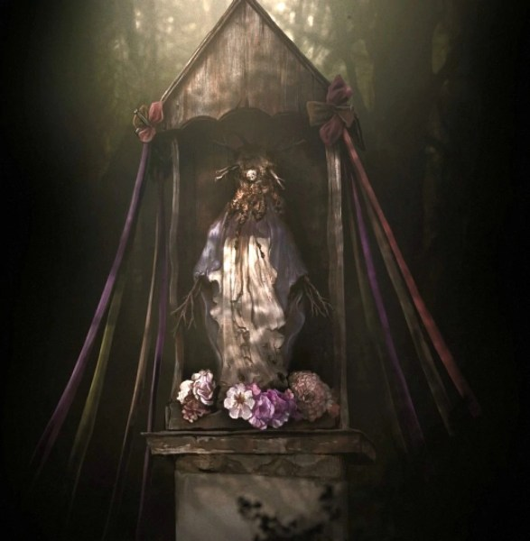 Village Shrine   Darkwood Wiki   FANDOM powered by Wikia The Village Shrine is a small  crudely made idol inside a wooden shrine  It  can be found by the entrance to The Village  The idol has a shiny stone  embedded