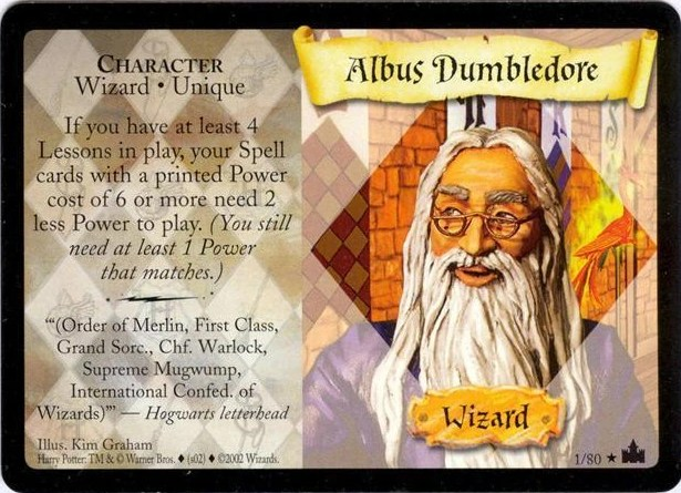 Albus Dumbledore Trading Card Harry Potter Wiki