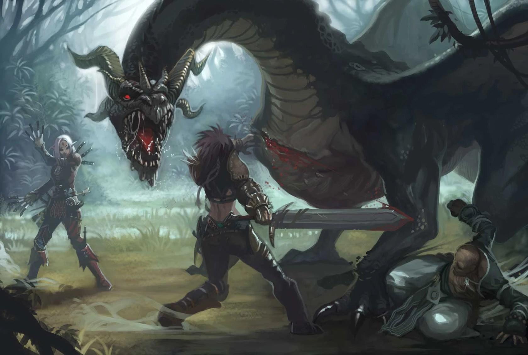 Image Black Dragon Fightjpg Pathfinder Wiki FANDOM