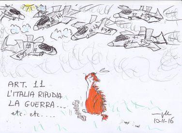 Il gattino di Maria Grazia Niutta si chiede smarrito a che serva spendere tanti soldi in armamenti ad un paese che ripudia la guerra.
