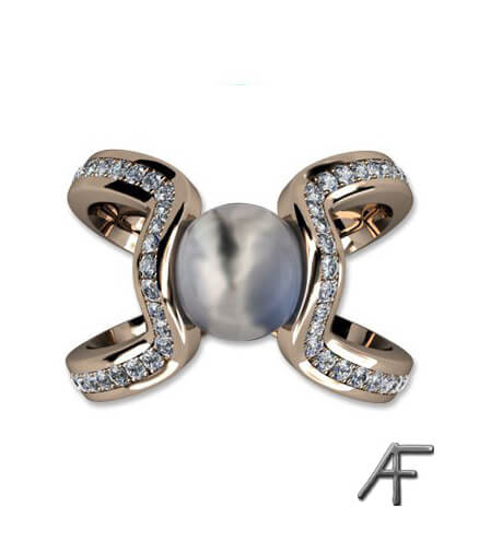 air - guldring med diamanter och pärla