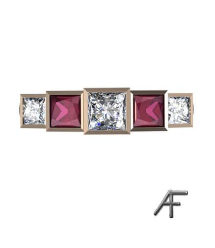 alliansring med rubiner och diamanter