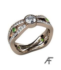 alliansring exklusiv med diamanter och tzavoriter