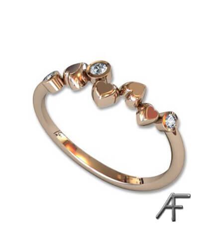 alliansring med hjärtan och diamanter 18k